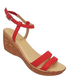 Loving this Red Amanda Wedge Sandal on #zulily! #zulilyfinds