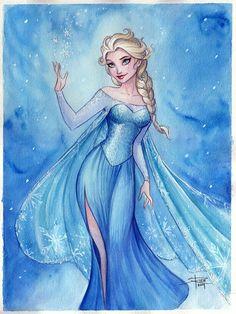 Elsa Watercolor by Sabinerich http://sabinerich.deviantart.com/art/Elsa-Watercolor-445353969
