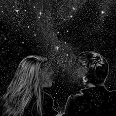 couple, drawing, stars