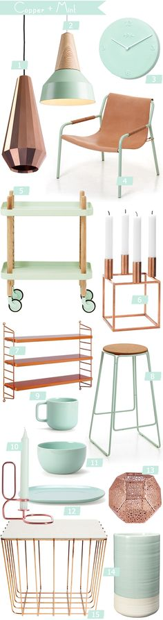 Copper and mint home accessories