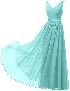 b4e375dde5d Alicepub V-Neck Chiffon Bridesmaid Dress Long Party Prom Evening Dress  Sleeveless