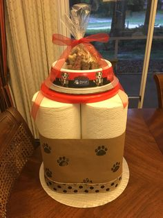 Seven alternatives to traditional bar mitzvah candle lighting dog paw centerpiece made from paper towels dog bowl and a frisbee modeled after aloadofball Choice Image
