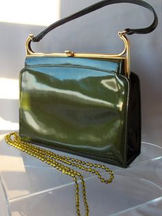 DARK GREEN PATENT/ Kelly Style Handbag/Made In England By Holmes of Norwich/ Fabulous Elbief Frame/Beige Suede Interior/Vintage 1950s Superb