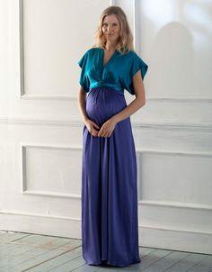 #Robe longue de #cocktail pour femme #enceinte #Seraphine, idéale pour les #mariages et autres soirées chics: http://www.seraphine.fr/robe-bi-colore-en-soie.html