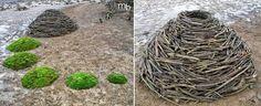 Moss Circles Stick Mound by land artist Miha Brinovec.
