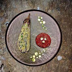 Miso roasted eggplant/ sesame/ tomato marmalade/ Gorgonzola cream