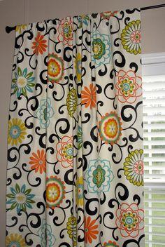 "Pair of Waverly Pom Pom Play Confetti Designer Drapes Curtains 50"" wide x 84"" long Big Bold Flowers Orange Green Turquoise Yellow Black. $175.00, via Etsy."