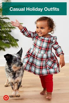 Keep things casual and comfy for your little one this season with festive outfits perfect for whatever the holidays have in store.
