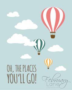 Hot Air Balloon Baby Name Nursery Printable 8x10 by FebruaryLane