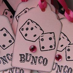 Add some of these cute pink Bunco tags to your Bunco prizes! From BuncoBettys on Etsy.com