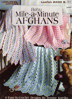 Wonderful  Mile - A - Minute  Baby Afghans Crochet Patterns, 5 Easy to Crochet Baby Afghans, Leisure Arts 2476, Baby Afghan Patterns by OnceUponAnHeirloom on Etsy