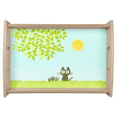 Sun and Leaves and Black Cat Serving Tray ! :D #Cat #Kitten #Tray #Platter #Zazzle