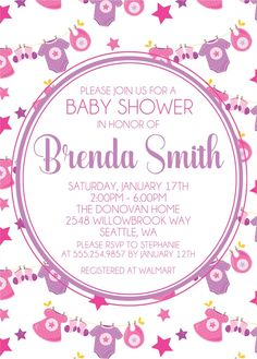 Pink & Purple Clothesline Baby Shower Invitations Baby Shower Invites For Girl, Baby Shower Invitations, Pink Girl, Pink Purple, Type Setting, Clothes Line, Background Patterns, White Envelopes, Baby Showers