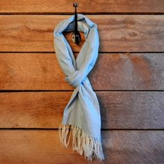 baby blue scarf by Connected in Hope Foundation.  Provides a sustainable, fair trade income for women in Ethiopia.