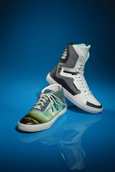 Men's High-tops: Multicolor leather and suede midcut shoe by Alexander McQueen Puma, Creative Recreation's ultra high-top with zipper detail.
