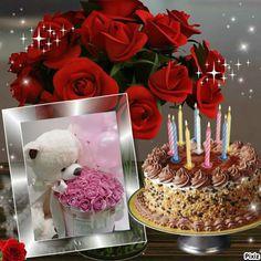 Free photo montages on Pixiz. Happy Birthday Qoutes, Happy Birthday Bouquet, Birthday Msgs, Happy Birthday Cake Photo, Happy Birthday Cake Pictures, Happy Birthday Wishes Photos, Happy Birthday Wishes Cake, Happy Birthday Frame, Happy Birthday Celebration