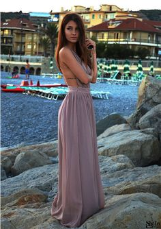 Deep V-Neck Backless Maxi Dress #streetstyle #beach #dress #maxi #streestyle