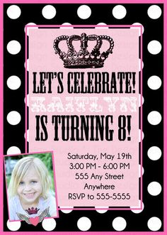 Personalized Custom Rock Princess Photo Invitation Invite DIY print