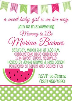 SWEET WATERMELON Baby Shower 5x7 Invitation - Girl DIY Printable on Etsy, $9.50