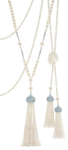 Tassel pendants of diamonds, freshwater cultured pearls and platinum. From The Great Gatsby collection by Tiffany  Co., inspired by Baz Luhrmann's film in collaboration with Catherine Martin. Via The Jewellery Editor.