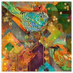 """Marmont Hill N/A 18 Inch x 18 Inch """"Tanager Birds"""" Giclee Art Print on Stretched Canvas by Evelia Bird Canvas, Canvas Wall Art, Canvas Size, Painting Prints, Canvas Art Prints, C 18, Mystique, Bird Prints, Sculpture"""