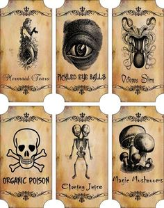 Vintage Inspired Halloween Sepia 6 Large Bottle Label Stickers Apothecary Labels | eBay