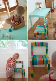 IKEA HACKS - yarn for Latt chair - I was just thinking about what I could do to add some cuteness to the kids table!