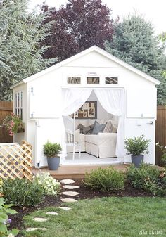 My Shed Plans - This DIY She Shed makeover has so many pretty details! You HAVE to see the inside! - Now You Can Build ANY Shed In A Weekend Even If You've Zero Woodworking Experience! Backyard Studio, Backyard Sheds, Backyard Retreat, Garden Sheds, Outdoor Sheds, Backyard House, Outdoor Retreat, Garden Tools, Cabana