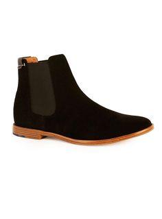 Black Faux Suede Chelsea Boots - Topman