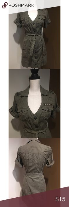 Women's Guess army green dress size M Guess Los Angles. Belted. Buttons all the way down. Size M LISTED UNDER ZARA FOR EXPOSURE :) Zara Dresses Mini