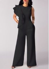 Tie Waist Side Zipper Black Overlay Pants on sale only US$31.58 now, buy cheap Tie Waist Side Zipper Black Overlay Pants at liligal.com
