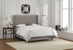 Naxos Tufted Wingback Bed in Gray