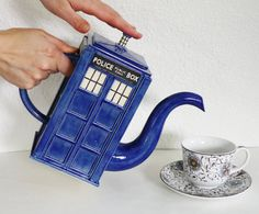 TARDIS Teapot Ready TO SHIP by jadeflower on Etsy, $135.00