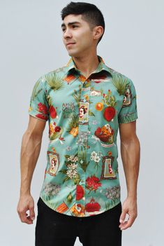 Teal Frida Button-Up Shirt Men's Button Up