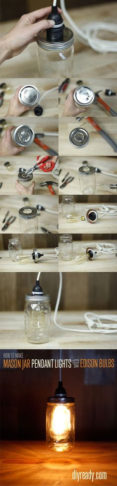 Lámpara con un tarro de vidrio DIY Mason Jar Crafts: How to make Edison Bulbs out of Mason Jars. Going to try this in my kitchen!