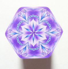 LARGE Shades of Purple and Blue Hexagon Polymer Clay by ClaybyKerm, $10.00