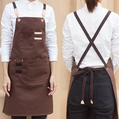 Black Khaki Brown Canvas Apron Cotton Straps - Little Tailor Studio - Unisex Gray, Black & Khaki Canvas Apron with Crossback Cotton Straps & Convenient Pockets. Cafe Uniform, Waiter Uniform, Bartender Uniform, Barista, Staff Uniforms, Leather Apron, Apron Designs, Techniques Couture, Coffee Shop Design
