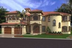 Mediterranean Style House Plan - 4 Beds 5.5 Baths 6835 Sq/Ft Plan #420-194 Exterior - Front Elevation - Houseplans.com