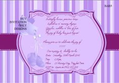 baby shower invitations | Purple baby shower invitation example