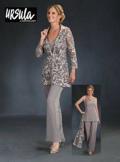 Mother Of The Bride Plus Size, Mother Of The Bride Dresses Long, Mothers Dresses, Plus Size Gowns, Evening Dresses Plus Size, Plus Size Pants, Lace Jacket, Elegant Outfit, The Dress