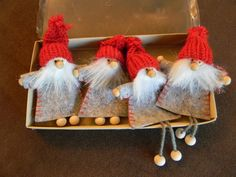scandinavian swedish christmas ornaments 4 santas gnomes elves in box 902 ebay