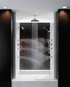 "Multiple shower heads from all directions is the best way to stay warm in the shower. ""Total Escape"" shower from Brizo. This is my dream shower!"