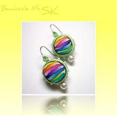 Rainbow Mini Ball Earrings Swarovski Crystal by BeadazzleMe, $16.00