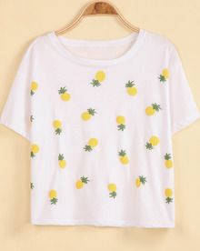 White Short Sleeve Pineapple Print Loose T-Shirt