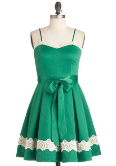 Emerald Smile Dress - Mid-length, Green, White, Solid, Pleats, Trim, Party, Vintage Inspired, Spaghetti Straps, Belted, Fit & Flare, A-line