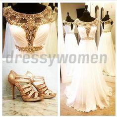 2015 New Arrival Scoop A-line Beading Floor-Length Chiffon Prom Dresses#Evening Dresses/Long Wedding Dresses#Bridesmaid Dresses