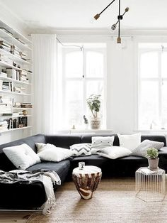 Here are the Black And White Living Room Design Ideas. This article about Black And White Living Room Design Ideas … Black And White Living Room, Scandinavian Design Living Room, Home And Living, White Living Room Decor, Living Room Scandinavian, Couches Living Room, Black Sofa Living Room, Apartment Living Room, Bright Living Room