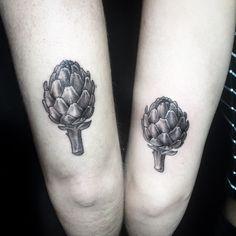Matching artichoke tattoo