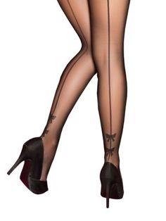 Pretty Polly Plus Bow Backseam Tights Women's Black X-Large Black Stockings, Nylon Stockings, Stockings And Suspenders, Black Pantyhose, Black Tights, Suspenders Fashion, Plus Size Tights, Tattoo Son, Mode Shoes