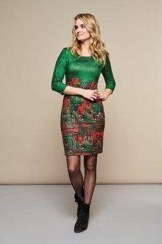 4d95d7acb020 Tmavě zelené pouzdrové šaty s motivem domů Smashed Lemon Areta